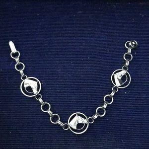 Jewelry - Vintage Chain Link Silver Horse Bracelet